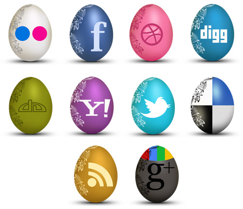Free Egg Shaped Social Icons Sets For Christmas