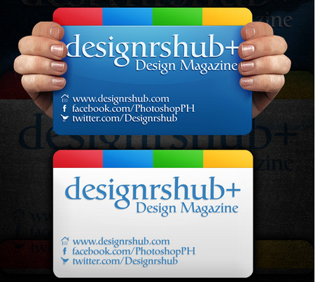 Google Plus Business Card PSD Template