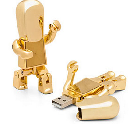 Golden Robot USB Flash Drive