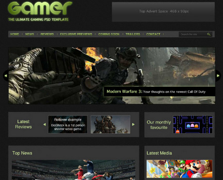 GAMER free homepage website PSD