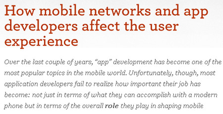 How mobile networks and app developers affect the user experience