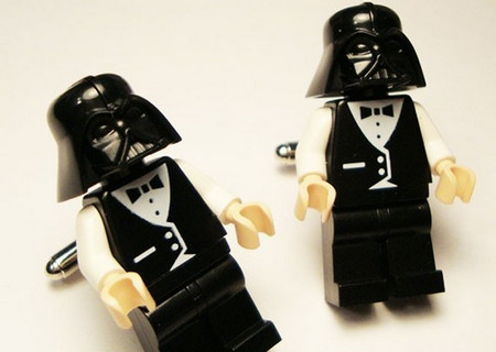 Full body Darth Vader wedding suit LEGOS on silver toned cufflinks