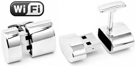 Polished Silver Oval WiFi Hotspot And 2GB USB Combination Cufflinks