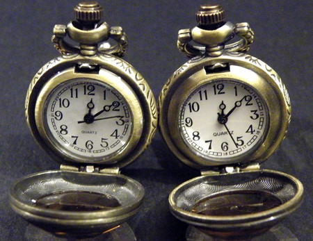 Steampunk Retro Victorian Style Faceted amber glass Pocket Watch Cufflinks
