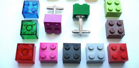 silver plated Cufflinks - Handmade with LEGO(r) Bricks