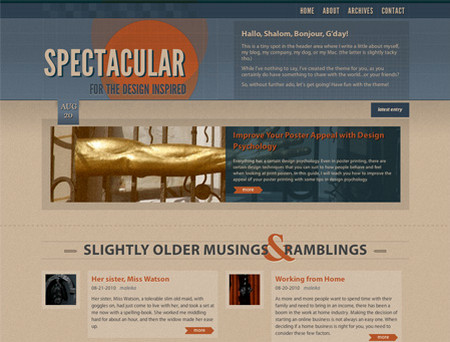 Spectacular - HTML 4.01/HTML5 WordPress Theme