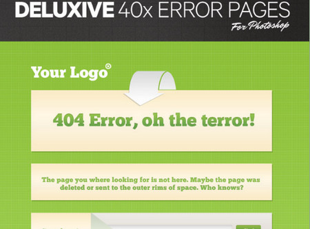 Deluxive PSD Error Pages Templates