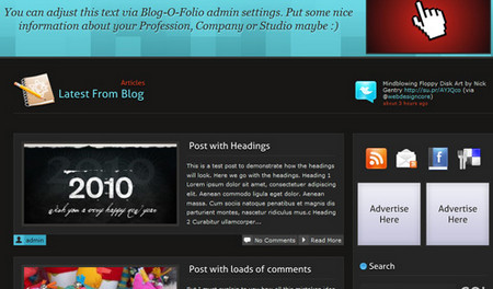 Blog-O-Folio is a free 2 column WordPress Theme