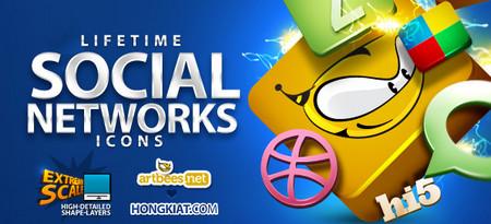 """Lifetime"" Social Network Icons"