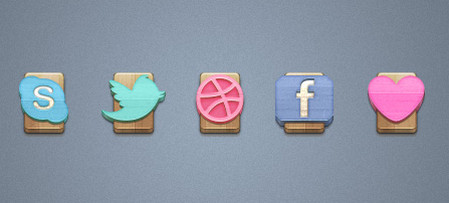 Wood Social Icons Set