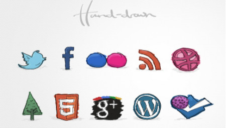Fun hand-drawn social icons