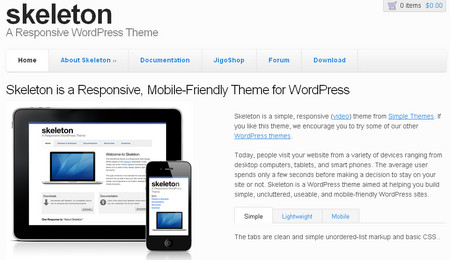 Skeleton - is a responsive wp theme