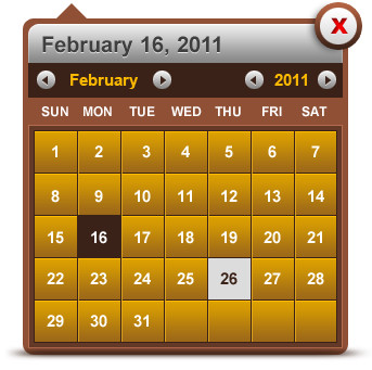 Pop-up date picker (calendar picker)