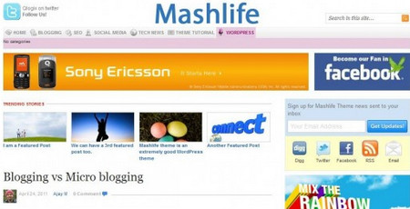 Mashable Theme For WordPress