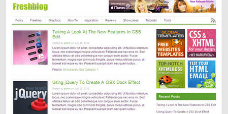 Freshblog 1.0 theme with a clean, clear design