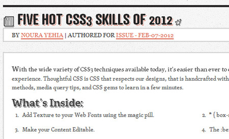 FIVE HOT CSS3 SKILLS OF 2012