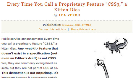 "every Time You Call a Proprietary Feature ""CSS3,"" a Kitten Dies"