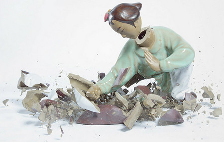 crashing porcelain action figures by martin klimas