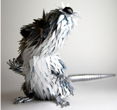 Animal Sculptures Made from Shattered CDs