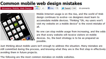 Common mobile web design mistakes