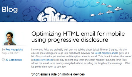 Designing ultra short emails for mobile using progressive disclosure