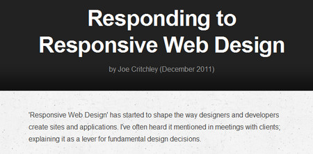 Responding to Responsive Web Design 