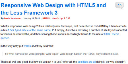 Responsive Web Design with HTML5 and the Less Framework 3