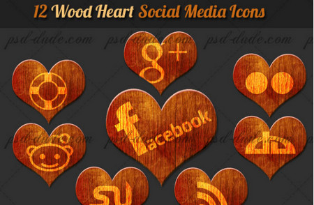 Wood Heart Social Networks Icons