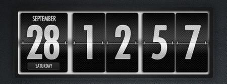 Dark Polished Flip Clock and Calendar