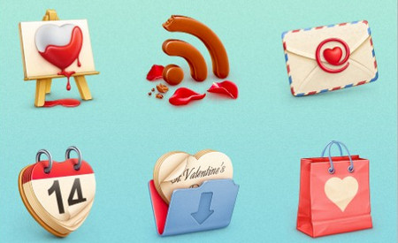St. Valentine's Day Icon Set (10 PNG/PSD Icons)