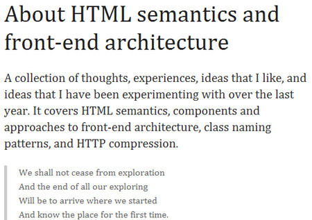 About HTML semantics and front-end architecture