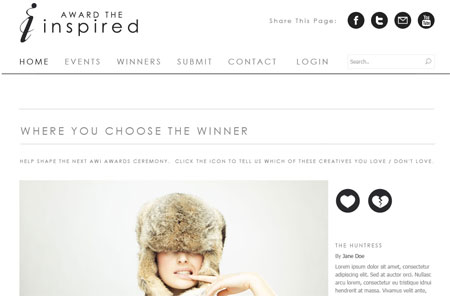 Award The Inspired - Clean website design