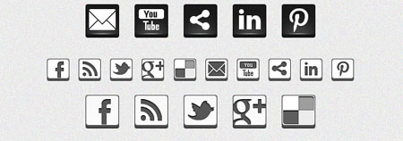 Black & White 3D Social Icons