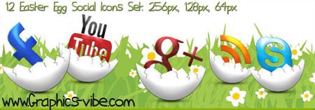 Easter Egg Social Icons Set
