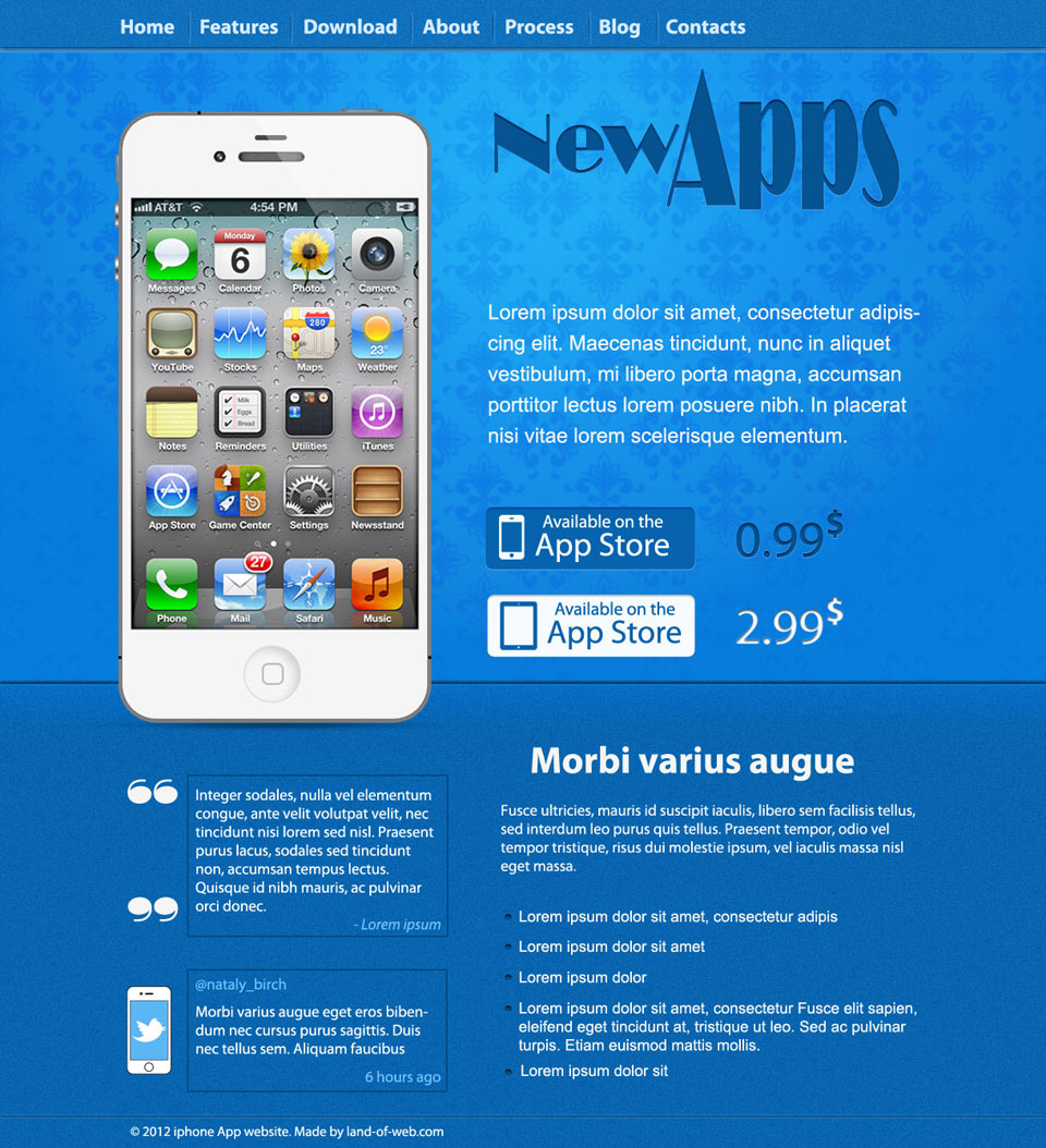 iPhone App Website Layout preview