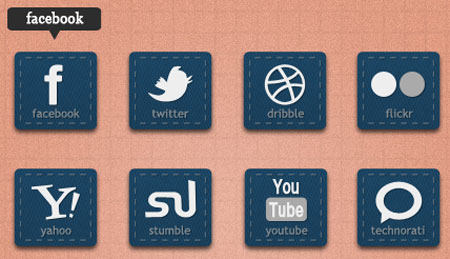 12 Rectangle Social Buttons, PSD + HTML/CSS/jQuery