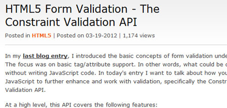 HTML5 Form Validation - The Constraint Validation API