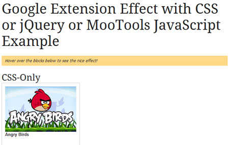Google Extension Effect with CSS or jQuery or MooTools JavaScript