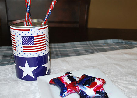 Patriotic Crayons and Pencil Cup