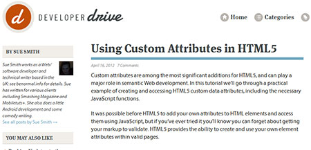Using Custom Attributes in HTML5
