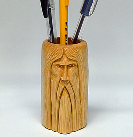 Hand carved wizard pencil holder