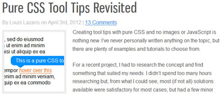 Pure CSS Tool Tips Revisited
