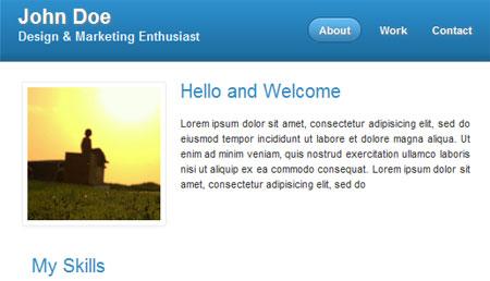 HTML jQuery Portfolio Template: Mini HTML vCard