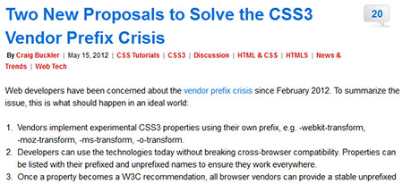 Two New Proposals to Solve the CSS3 Vendor Prefix Crisis