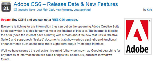 Adobe CS6 – Release Date & New Features