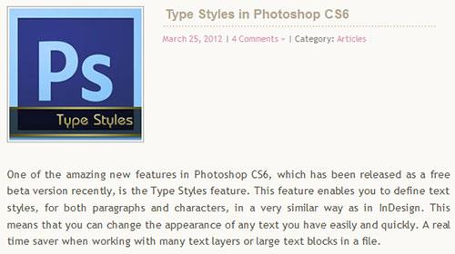 Type Styles in Photoshop CS6