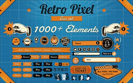 RetroPixel GUI, 1000+ vintage elements