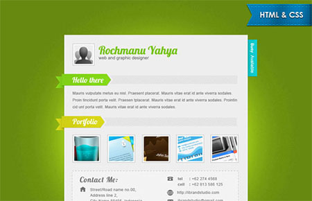 Elegant Green One Page vCard