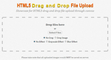 HTML5 Drag and Drop File Upload with Canvas