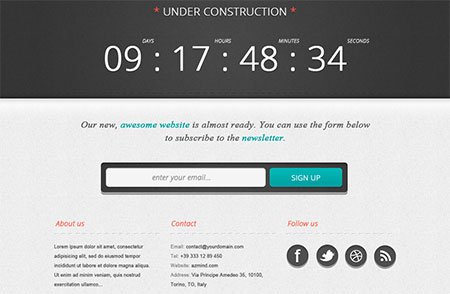 Bold Under Construction Page with tut